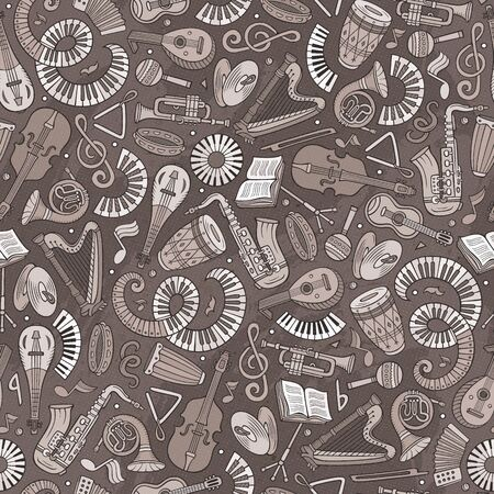 Cartoon hand-drawn Classic music seamless pattern Banque d'images - 129396391