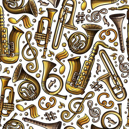 Cartoon hand-drawn Classic music seamless pattern Stockfoto