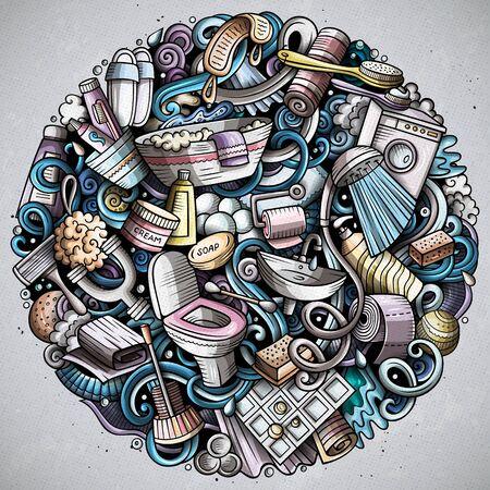 Bathroom hand drawn doodles round illustration. Bath room poster design