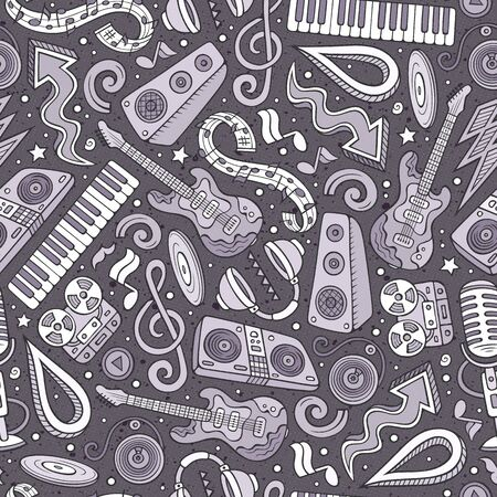 Cartoon hand-drawn Disco music seamless pattern Stock Photo