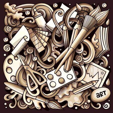 Cartoon doodles Art and Design illustration Banco de Imagens