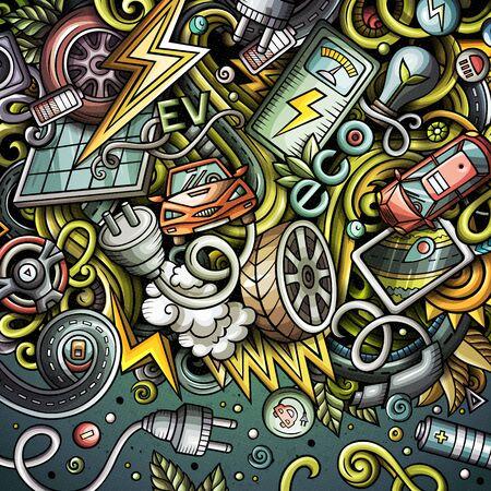 Cartoon doodles electric cars frame design Stock Photo
