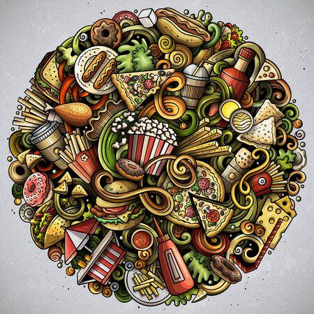 Fastfood hand drawn doodles round illustration. Fast food poster design