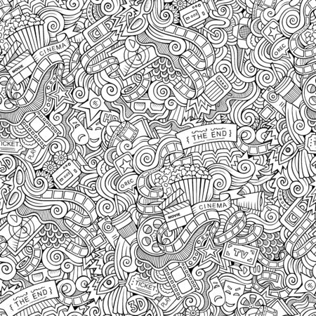 Cartoon doodles cinema seamless pattern 写真素材