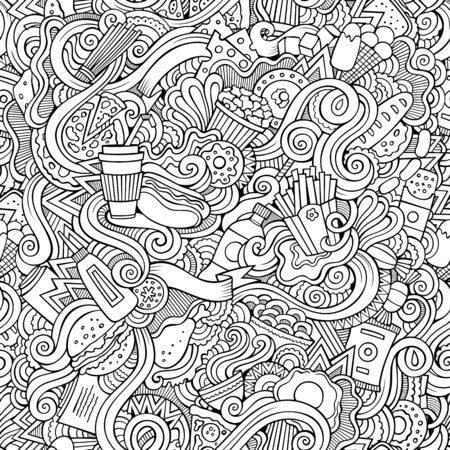 Fastfood hand drawn doodles seamless pattern. Fast food background Stockfoto