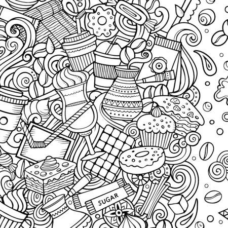 Cartoon doodles Coffee frame. Sketchy Cafe funny border Imagens