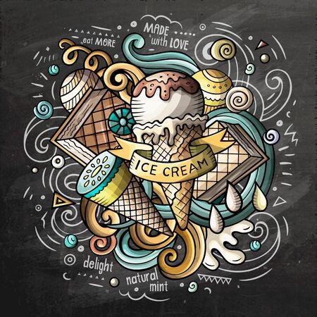 Cartoon schattige doodles hand getekende ijs illustratie Stockfoto