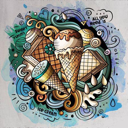 Ice Cream cartoon doodle watercolor illustration 写真素材