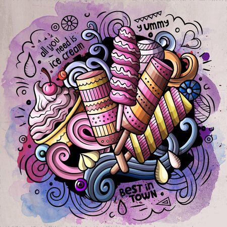 Ice Cream cartoon doodle watercolor illustration Imagens