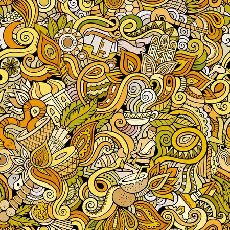 India culture hand drawn doodles seamless pattern. Indian backgraund