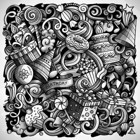 Holiday hand drawn doodles illustration. Birthday poster design. Banco de Imagens