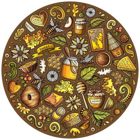 Set of Honey cartoon doodle objects Imagens
