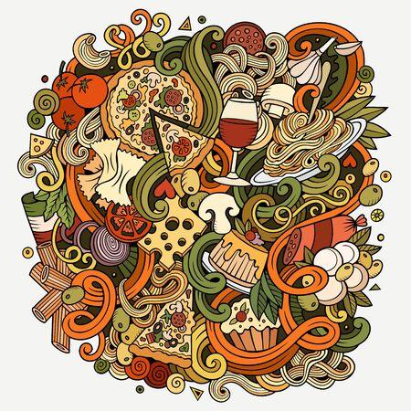 Cartoon cute doodles Italian Food illustration Stock Photo
