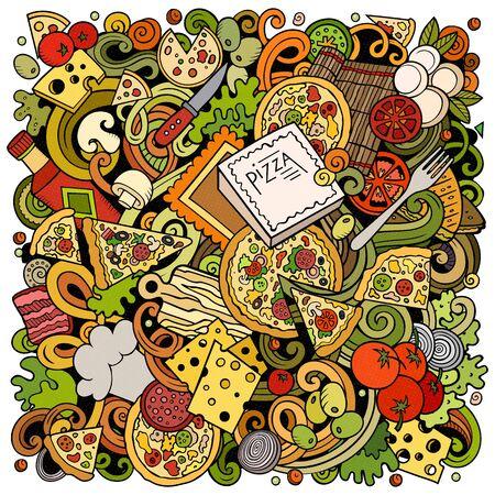 Cartoon color cute doodles Pizza illustration