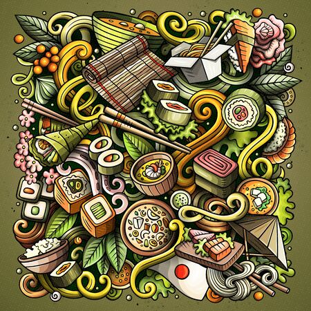 Cartoon colorful doodles Japan food illustration 스톡 콘텐츠