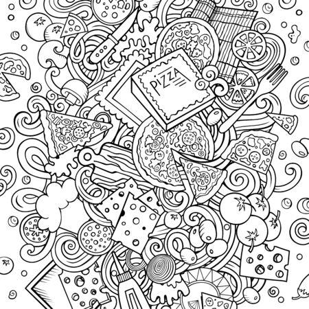 Cartoon line art cute doodles Pizza illustration