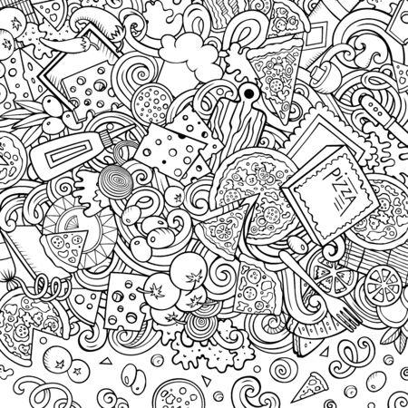 Cartoon doodles Pizza frame. Contour drawing pizzeria funny border
