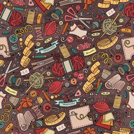 Cartoon cute hand drawn Handmade seamless pattern Stockfoto