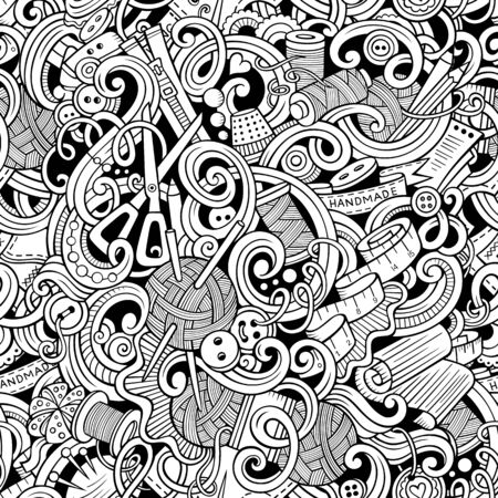 Cartoon handmade and sewing doodles seamless pattern Фото со стока