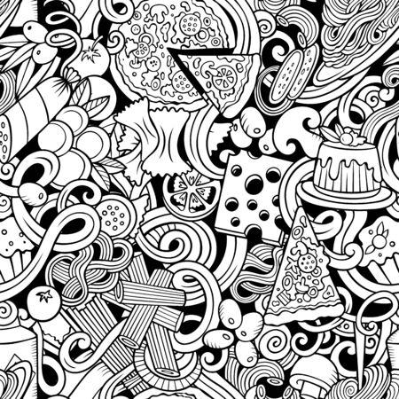 Cartoon cute doodles hand drawn Italian Food seamless pattern.