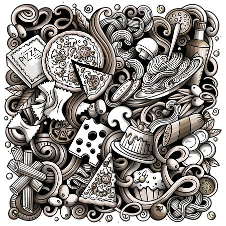 Cartoon doodles Italian Food illustration. Italy cuisine funny picture Фото со стока