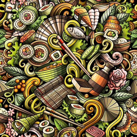 Cartoon cute doodles hand drawn Japan Food seamless pattern