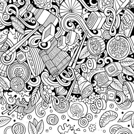 Cartoon contour hand-drawn doodles Japan food frame