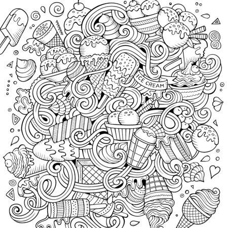 Cartoon hand-drawn doodles Ice Cream illustration