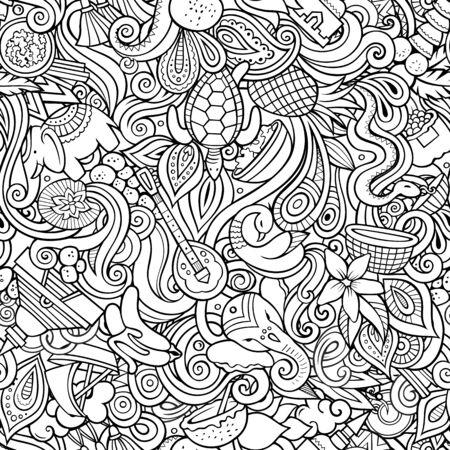 Cartoon cute doodles hand drawn Indian culture seamless pattern 版權商用圖片