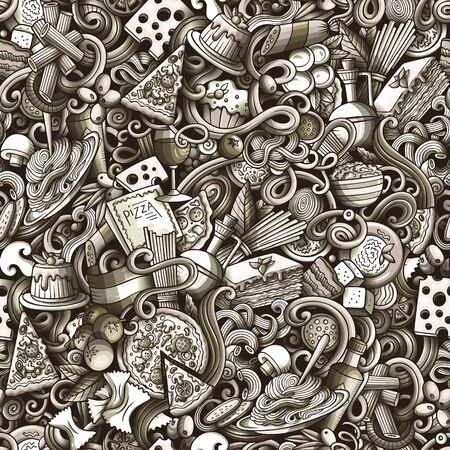 Cartoon cute doodles hand drawn Italian Food seamless pattern Stock Photo