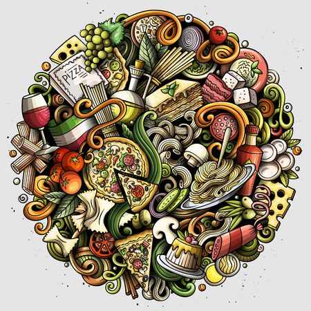 Cartoon cute doodles Italian Food illustration 스톡 콘텐츠