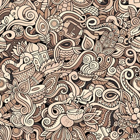 Cartoon cute doodles hand drawn Indian culture seamless pattern 스톡 콘텐츠