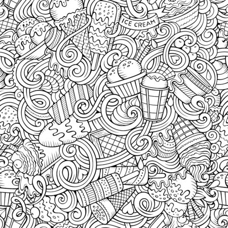 Cartoon hand-drawn ice cream doodles seamless pattern. Line art detailed, with lots of objects background