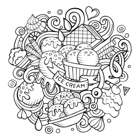 Cartoon hand-drawn doodles Ice Cream illustration. Line art detailed, with lots of objects design background