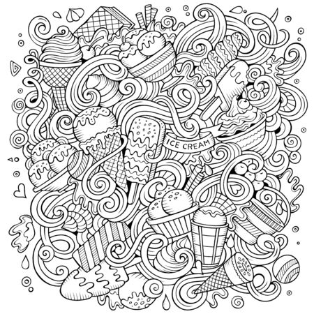 Cartoon cute doodles hand drawn ice cream illustration. Sketchy detailed, with lots of objects background. Funny artwork. Line art picture with ice-cream theme items Imagens