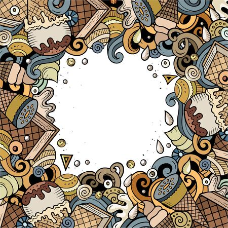 Cartoon hand-drawn doodles Ice Cream frame illustration. Colorful detailed card border, with lots of objects