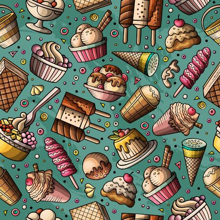 Cartoon hand-drawn ice cream doodles seamless pattern. Colorful detailed, with lots of objects background