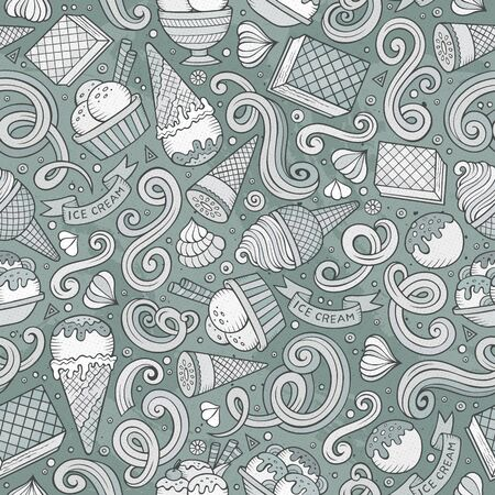 Cartoon hand-drawn ice cream doodles seamless pattern. Monochrome detailed, with lots of objects background