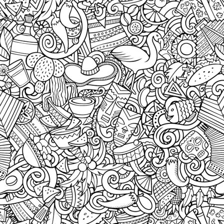 Cartoon cute doodles Latin America seamless pattern Imagens