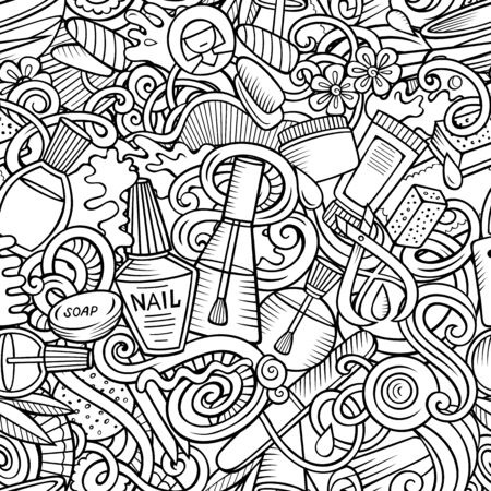 Manicure hand drawn doodles seamless pattern. Nails art background