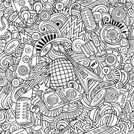 Cartoon cute doodles Disco music seamless pattern Stock Photo