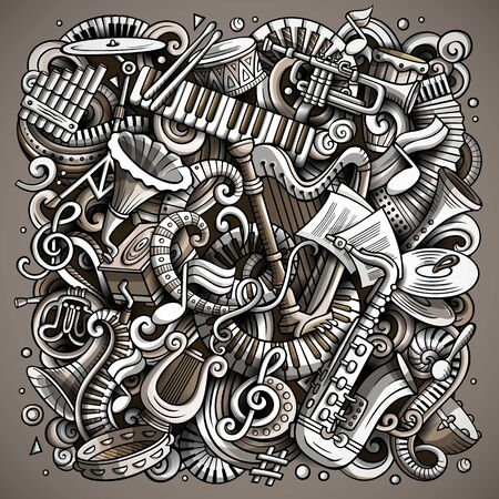 Cartoon cute doodles Disco music illustration Stockfoto - 130264170