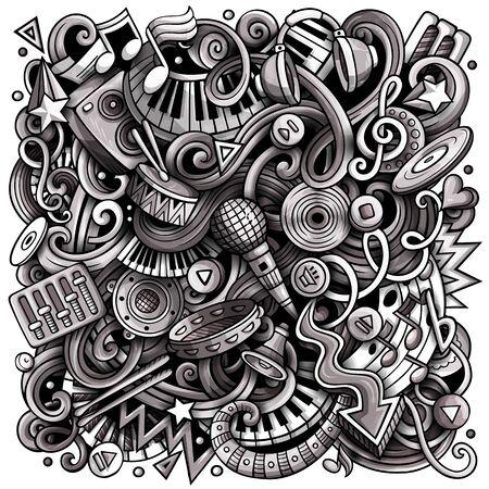 Music hand drawn doodles illustration. Musical poster design.