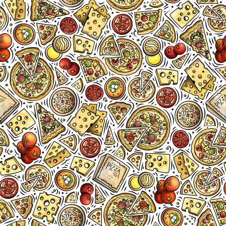 Cartoon cute hand drawn Italian food seamless pattern. Stock Photo