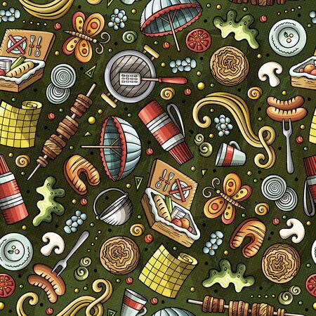 Cartoon cute hand drawn Picnic seamless pattern Zdjęcie Seryjne