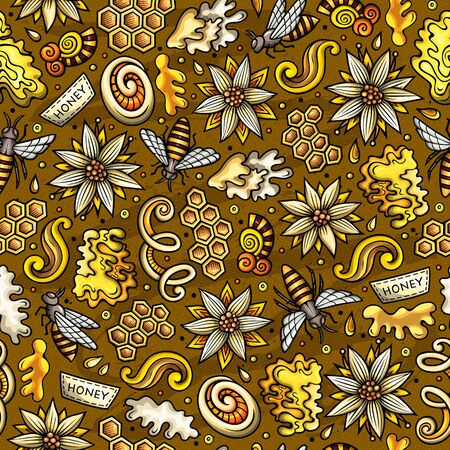 Cartoon cute Honey seamless pattern Фото со стока - 130264367
