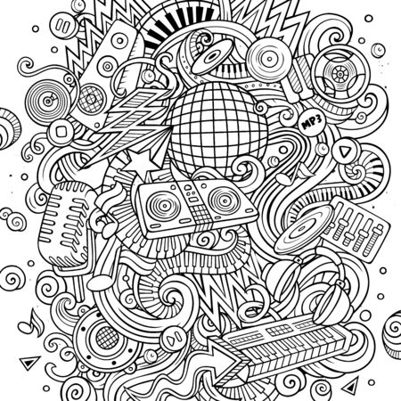 Cartoon line art doodles Disco music illustration Stock Illustration - 130264371