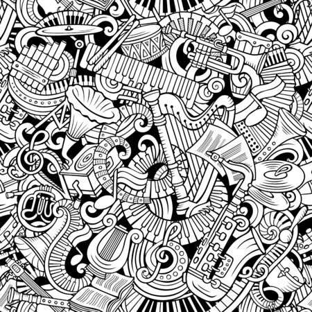 Cartoon cute doodles Classical music seamless pattern Фото со стока