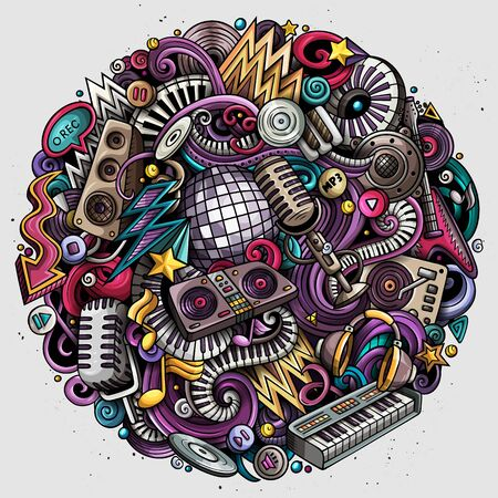 Cartoon color doodles Disco music illustration Stock Photo