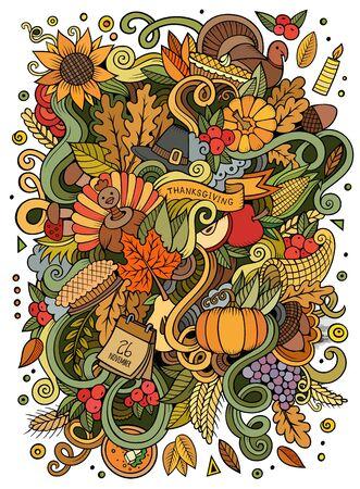 Cartoon cute doodles hand drawn Thanksgiving illustration